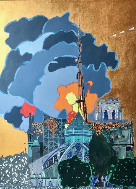 Incendie de Notre Dame Cathédrale Paris #1 TAFOYA19 acrilique sur du lin 89 X 116