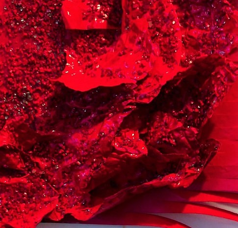 Détail de la photo de couverture : mammifère marin (100x120x7cm), feuilles plastique, éclats de verre, époxy.