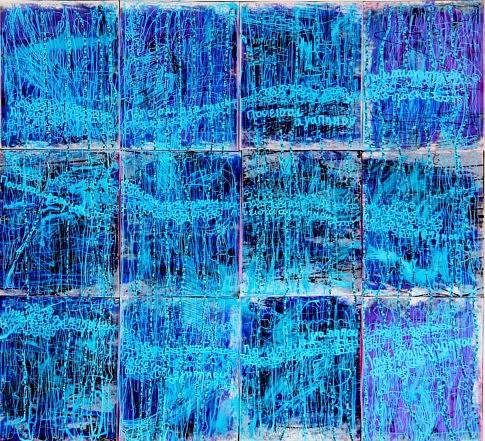 Où-ES-TU MON AMOUR?: 100x100cm Technique mixte: collage sur carton de photocopies sur papier calque, écriture feutre, peinture,  horizontalement en Grec, verticalement en Français.