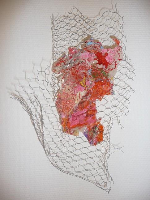 CAGES ET OISEAUX: (série) dimensions diverses (env.45x25x20cm) Grillage, feuilles calque déchirées, avec peinture acrylique, feutre posca, résine époxy, fils nylon.
