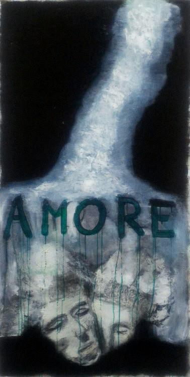 -AMORE:120x160cm Technique mixte sur toile: peinture acrylique et huile, crayon