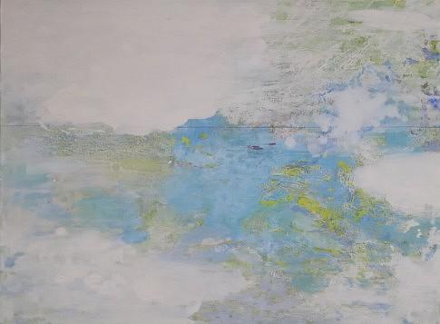 Vu du ciel  2013 – 2018  - peinture à l'eau et à l'huile, pastel et plâtre sur toile - 53 x 73 cm