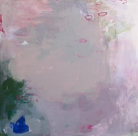 Étang  -  peinture à l'eau et l' huile,  plâtre  - 80 x 80 cm