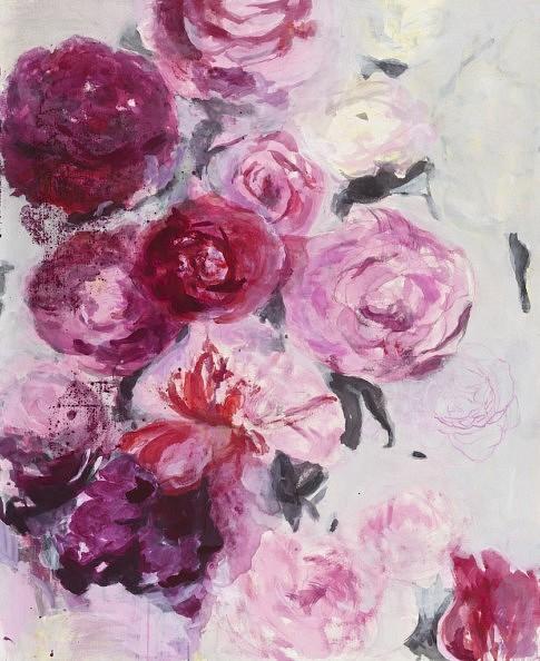 Bouquet de roses I 2015 peinture à l'eau et à l'huile, encre noir, crayon et plâtre -  100 x 81 cm   c Laurence Prat