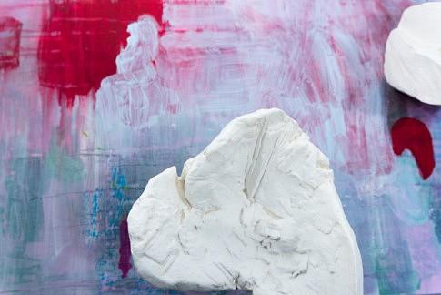 Miroir d'eau (détail)  2019  -  plâtre, peinture à l'eau et à l'huile, crayon et plâtre sur toile marouflée  80 x 80 x 30 cm  c Jérôme Debains