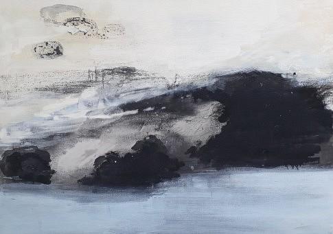 Jardin de Pierres bleues  2018 - peinture à l'eau, encre de Chine, fusain et plâtre - 65 x 92 cm