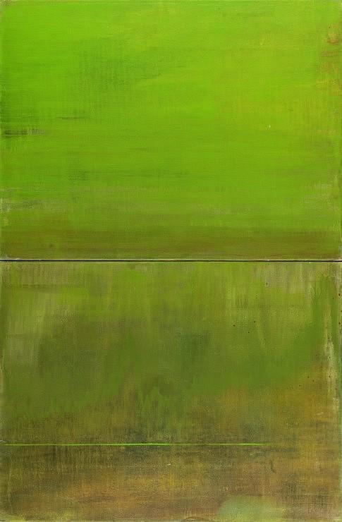 Ligne verte  2007  peinture à l'eau et à l'huile et plâtre  92 ( 2 x 46  ) x 61 cm