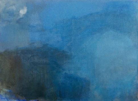 Ombre bleue  2000 peinture à l'huile et à l'eau et plâtre  73 x 100 cm c Laurence Prat
