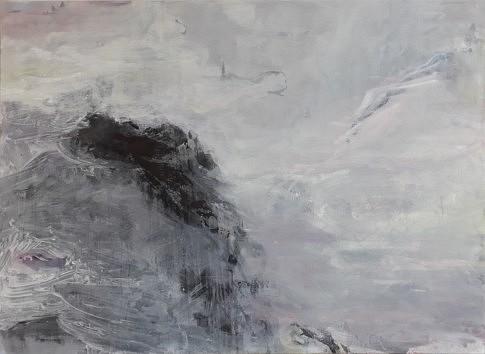 Paysage des rochers marins 2017 - Peinture à l'eau et à l'huile, pastel, encre de Chine et plâtre - 73 x 100 cm