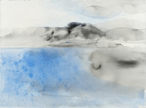 Plage de Nafpaktos I 2014, peinture à l'eau et à l'huile, encre noir et crayon et plâtre 54 x 73 cm  c Laurence Prat