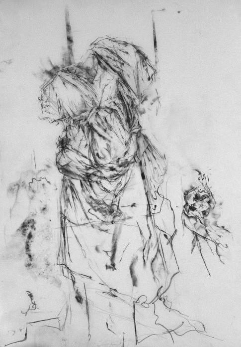 Niobide fuyant, (Louvre #4) , 2017, mine de plomb, papier calque 36 x 50 cm