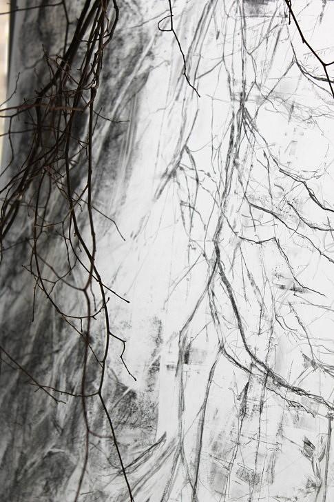 Miroir, Miroir, 2018, Branches de coudrier sous une lumière d'avril, reflets de plomb, devant la fenêtre, Bois, papier-calque, graphite, fil d'argent, 300  x 120  x 30 cm