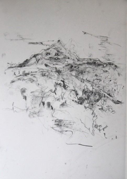 Sainte-Victoire #1, 2018 mine de plomb et pluie sur calque, 51 x 36 cm