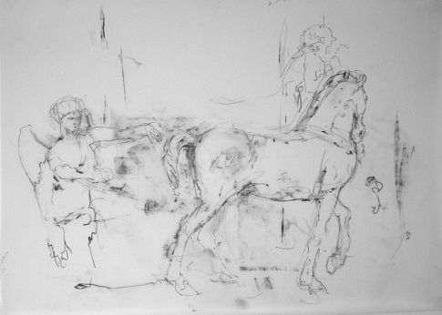 Le cheval à l'ange (Gypsothèque #11), 2019, mine de plomb, papier calque polyester,  51,2 x 36,5 cm