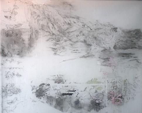 Perspective de nuages, (Ophélie #3), 2020, Technique mixte sur calque polyester,  152 x 122 cm