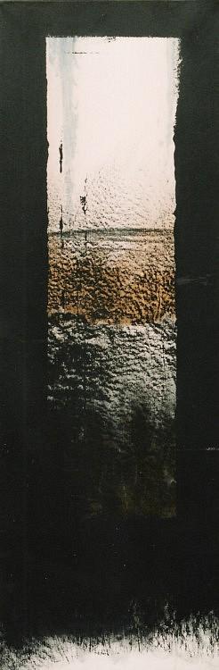 Peurs archivées (XII). Gouache, acrylique et pastel sur kraft marouflé sur toile. 30 x 90 cm.