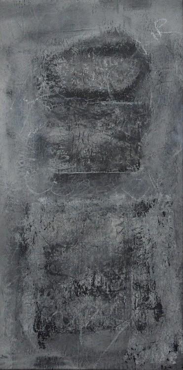 Peurs archivées 8. Gouache, acryl, pastel sur kraft marouflé sur toile. 40 x 80 cm.