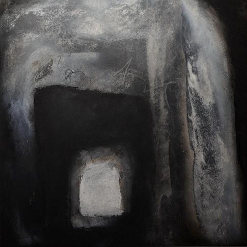 Peurs archivées 17. Gouache, fusain, pastel sur papier marouflé sur toile. 80 x 80 cm. 2017.