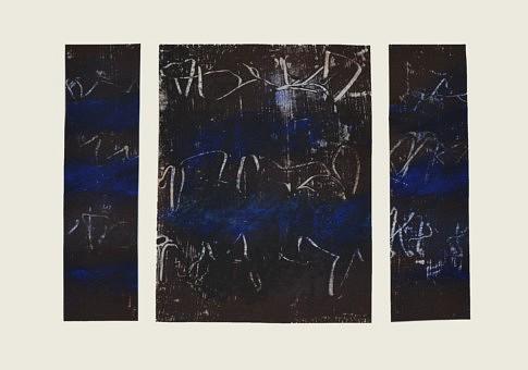 Fragments de nuits blanches 4, mixte sur papier, 42 x 21 ,7 cm.
