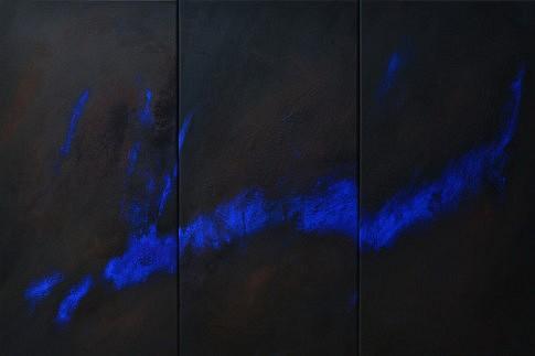 Peurs bleues 4, 5, 6. Pigments sur papier marouflé sur toile, 120 x 80 cm.