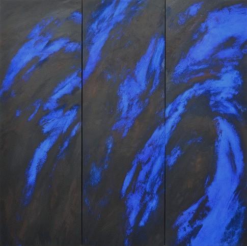Peurs bleues 14 à 16. Pigments sur papier marouflé sur toile, 150 x 150 cm.