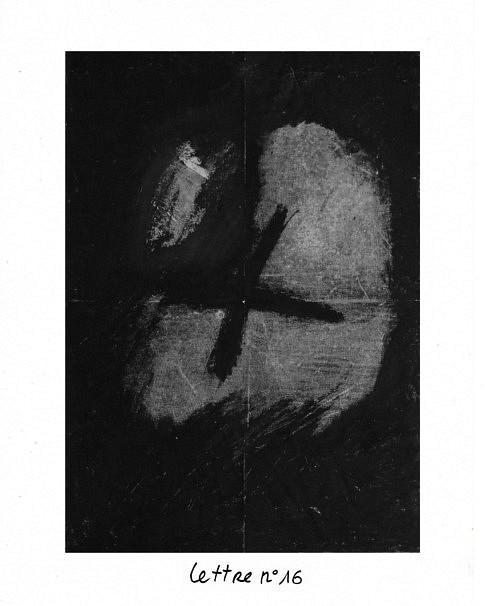 Lettre n°16, mixte sur papier, 40 x 50 cm