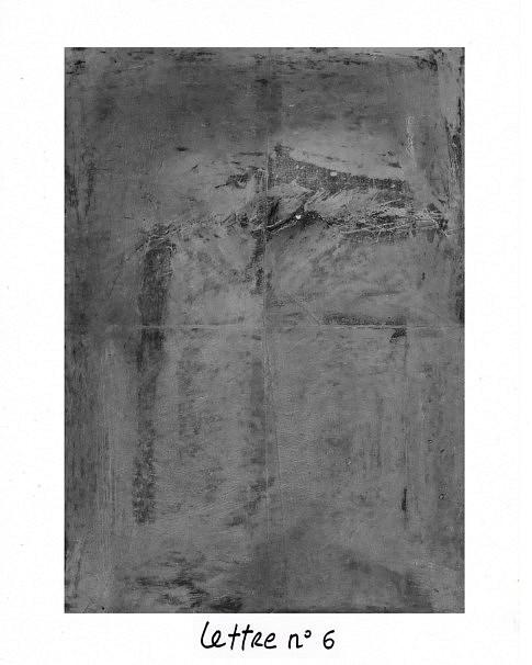 Lettre n°6, mixte sur papier, 40 x 50 cm.