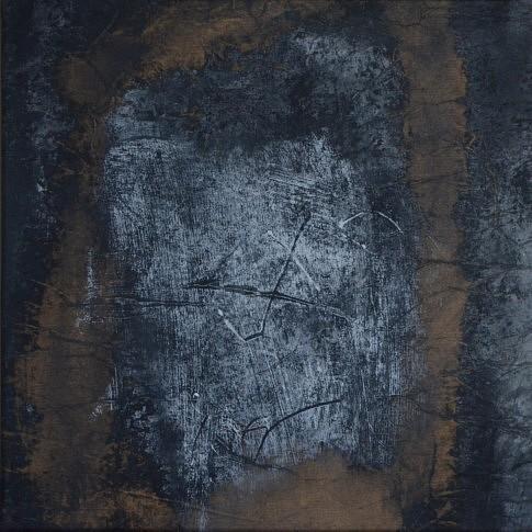 Peurs archivées 14 (peaux). Gouache, acryl, pastel sur kraft marouflé sur toile. 40 x 40 cm.