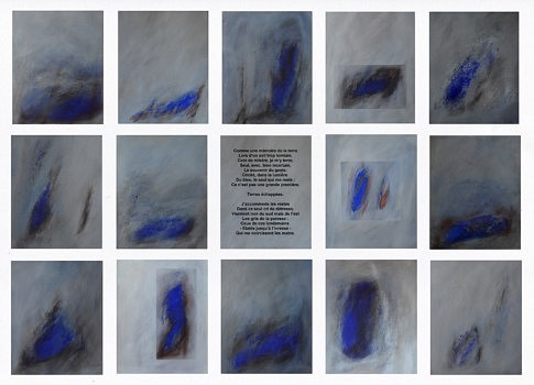 « Terres échappées », installation de 14 peintures (mixte sur papier) 40 x 50 cm chaque,, 236 x 168 cm
