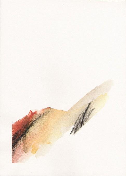 Terres (II), terre, fusain et aquarelle sur papier. 25 x  18 cm.