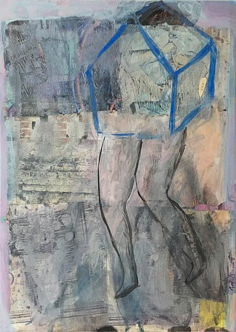 Errance  - 2018 - 50x70 cm - technique mixte sur papier magazine marouflé sur toile ©Sophie Lormeau Adagp 2019 Paris