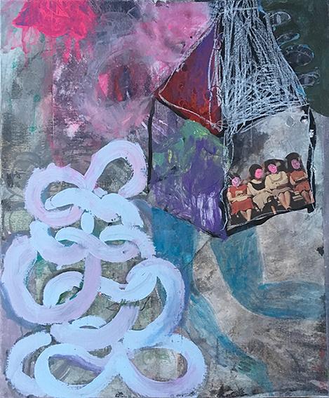Sophie Lormeau peinture et collage sur papier magazine marouflé sur toile