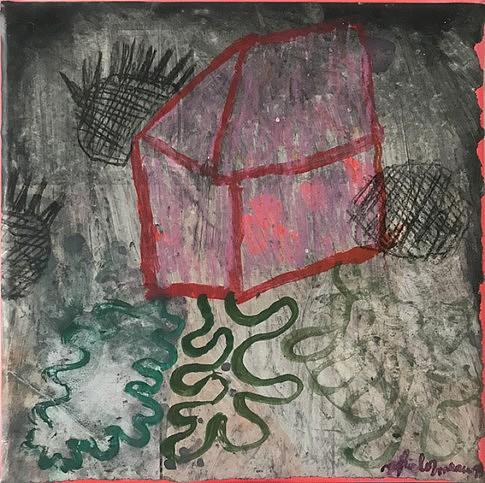 Passé, présent, futur - 2019 - 20x20 cm _technique mixte sur papier magazine marouflé sur toile ©Sophie Lormeau Adagp 2019 Paris