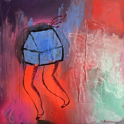 Souffler dans le vent - 2017 - 60x60 cm - technique mixte sur papier magazine marouflé sur toile  ©Sophie Lormeau Adagp 2019 Paris